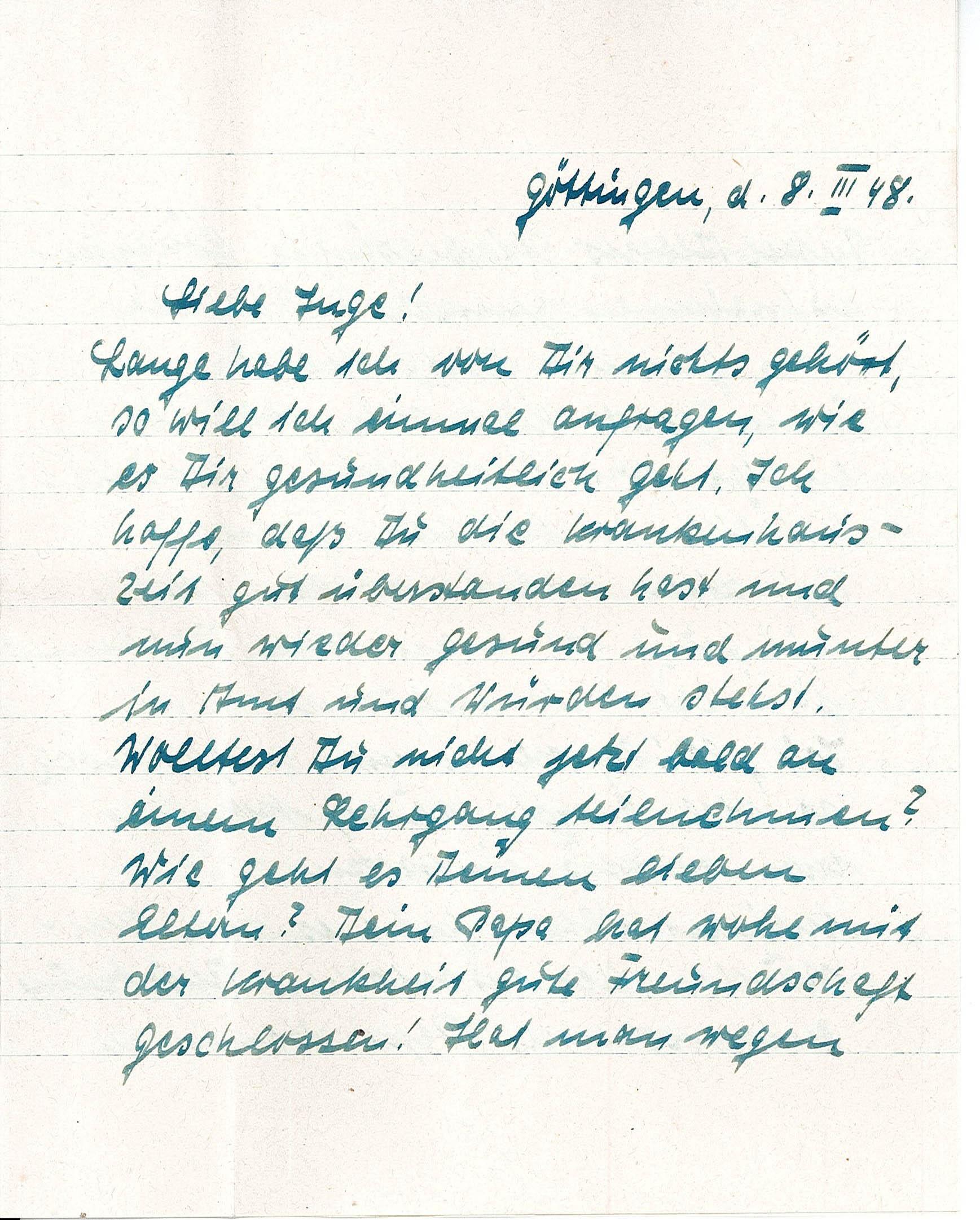 Freundschaftsbrief an Ingeborg Range von Hilde Pelikan, 8