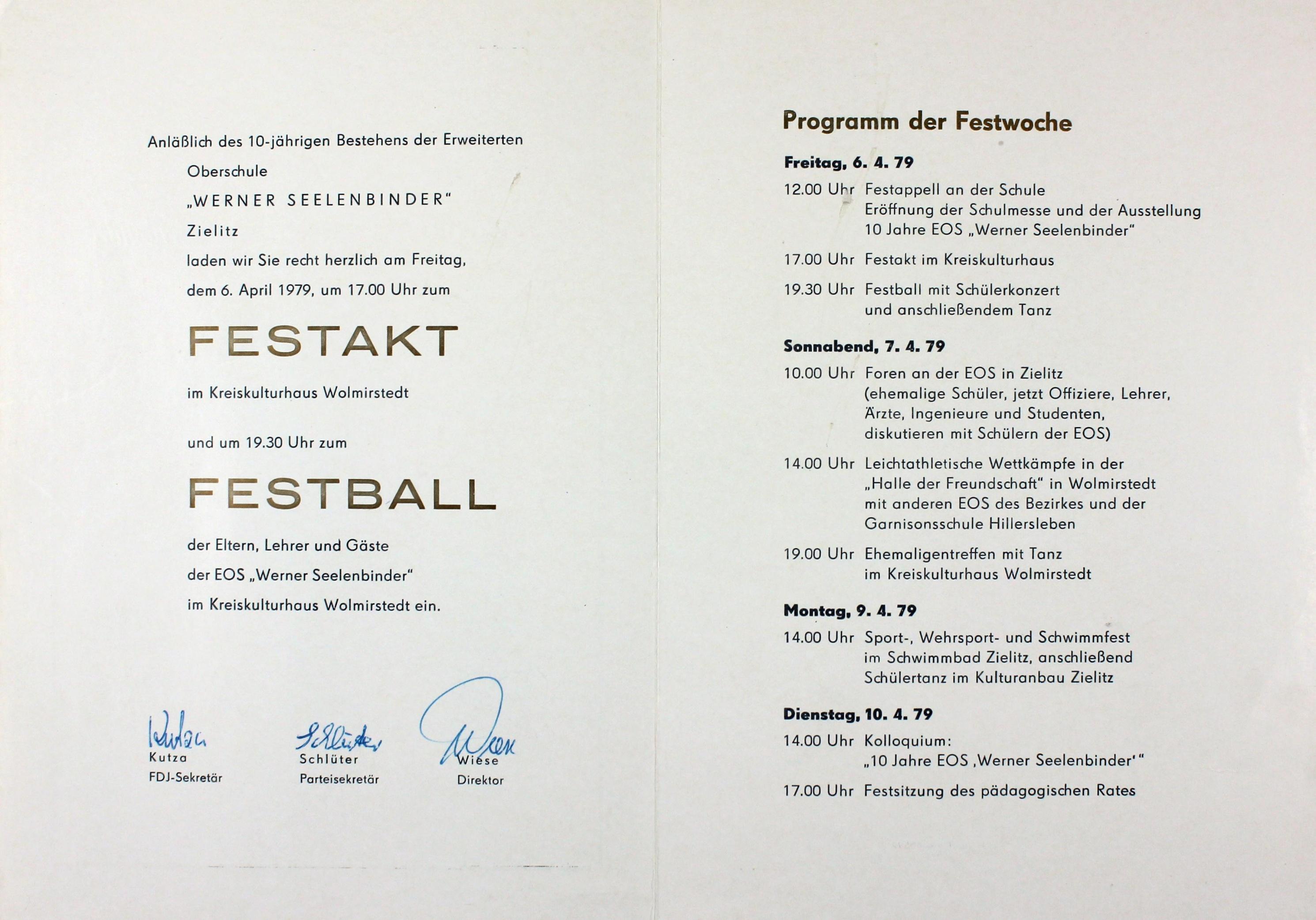 """museum wolmirstedt - """"einladung mit programm zum 10-jährigen, Einladung"""