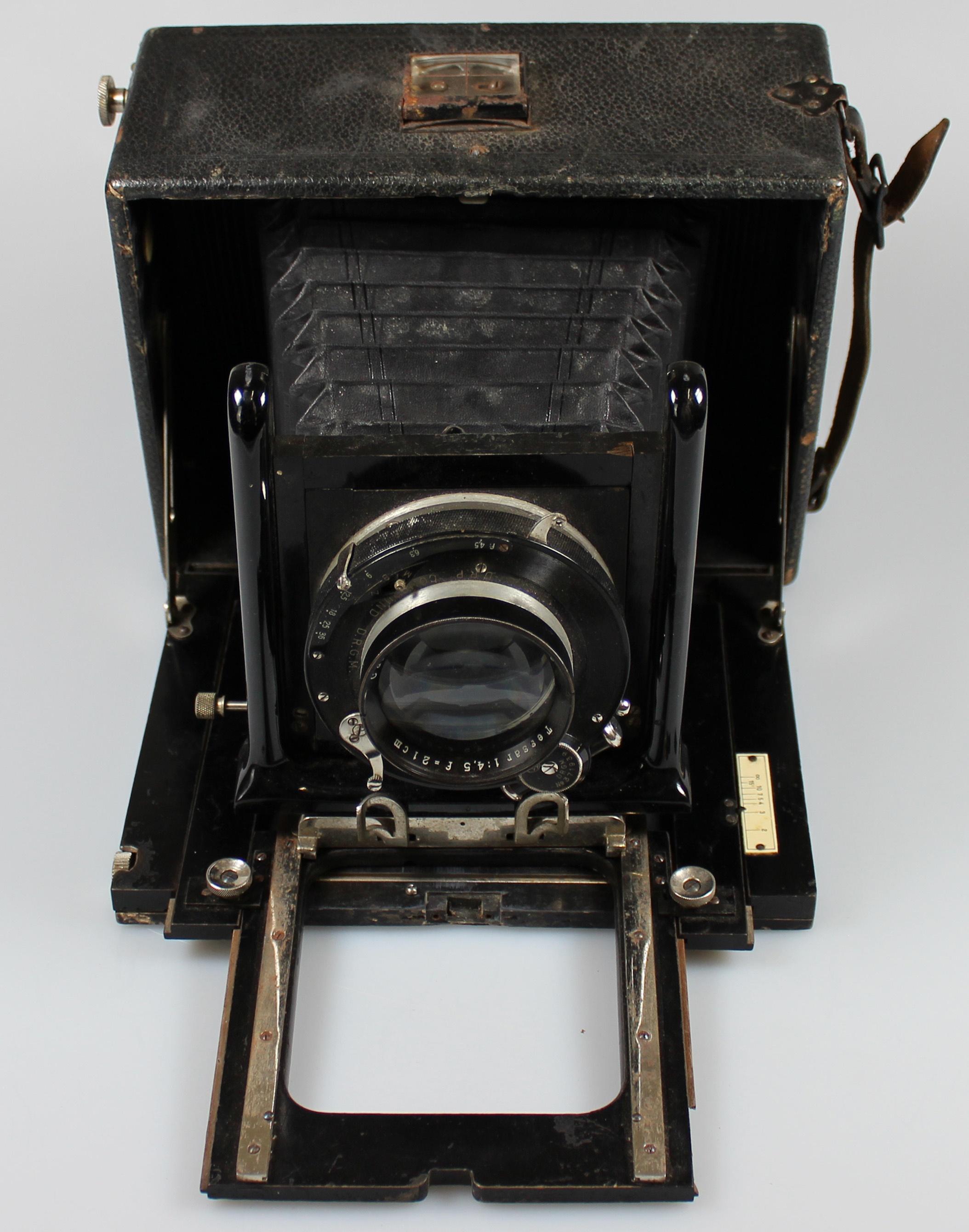 Plattenkamera, groß, mit Tasche