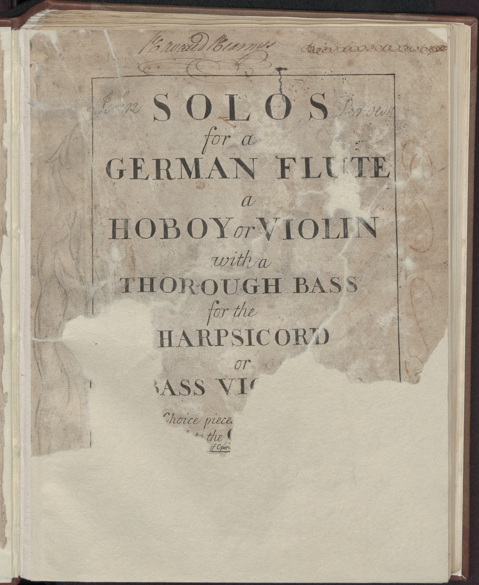 Solos for a German flute a hoboy or violin with a thorough bass for the harpsicord or bass violin, Abbildung 3 (Stiftung Händel-Haus Halle CC BY-NC-SA)