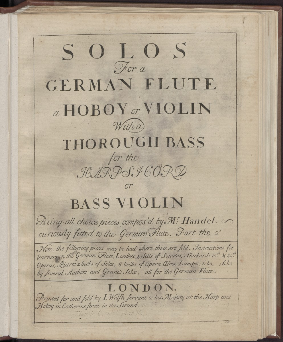 Solos for a German flute a hoboy or violin with a thorough bass for the harpsicord or bass violin, Abbildung 1 (Stiftung Händel-Haus Halle CC BY-NC-SA)