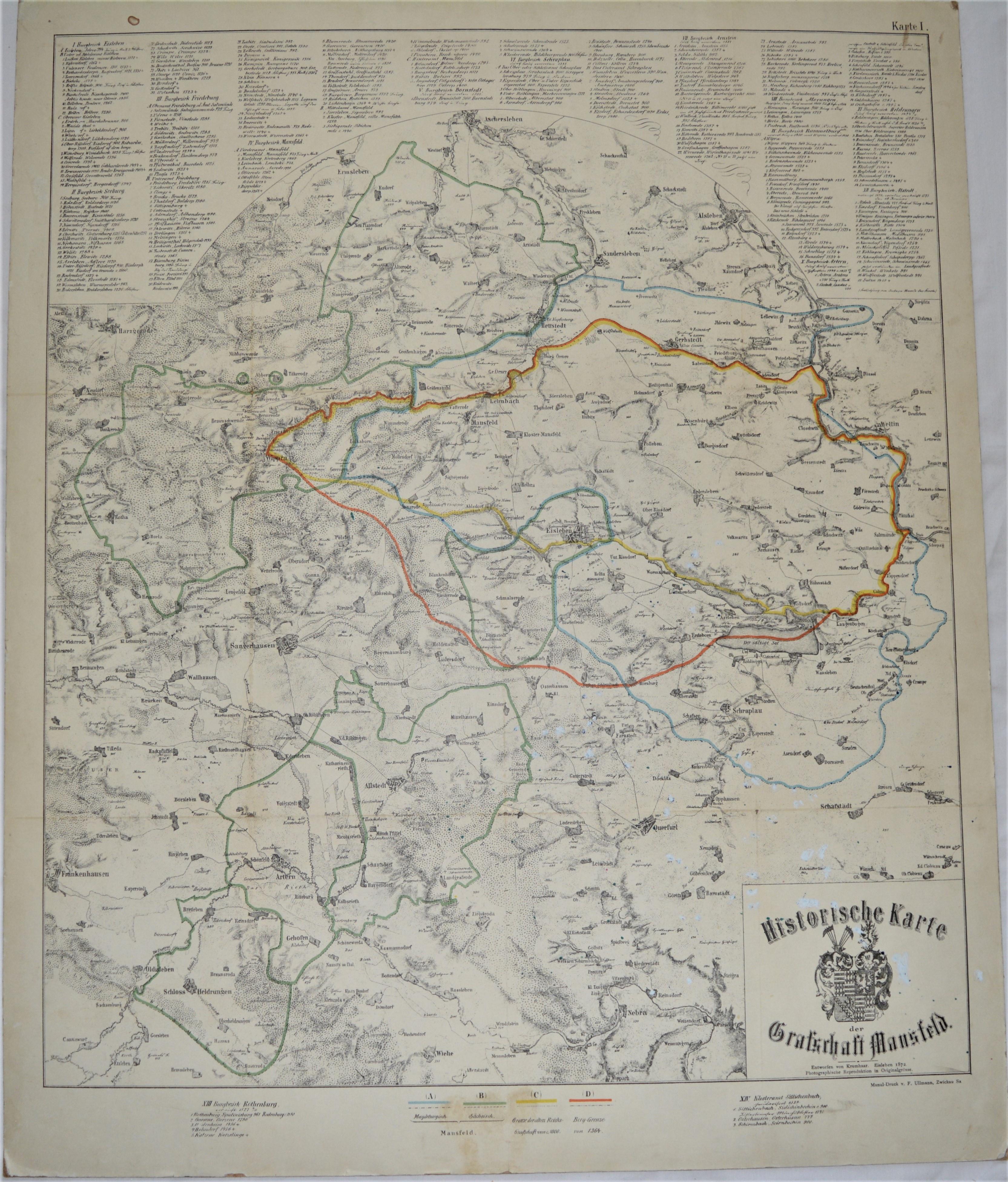 Historische Karte Der Grafschaft Mansfeld Karte 1 Mansfeld