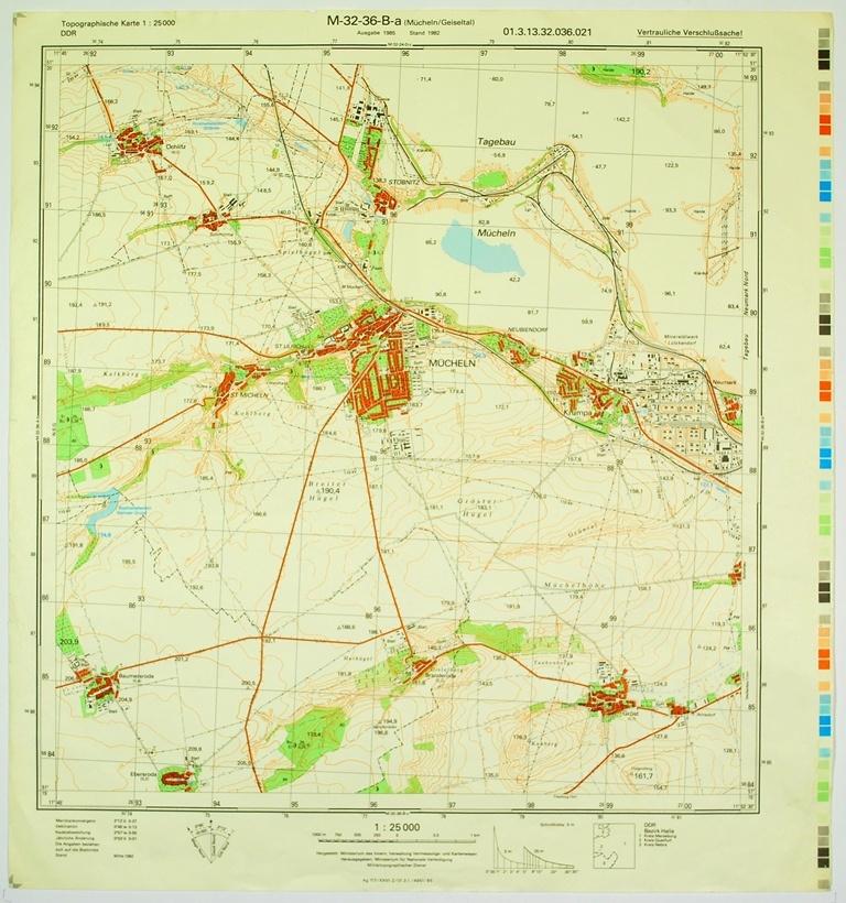 Topographische Karte Thüringen.Mücheln Geiseltal Topographische Karte 1 25000 Ddr