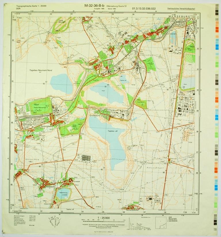 Topographische Karte Thüringen.Merseburg Saale S Topographische Karte 1 25000 Ddr