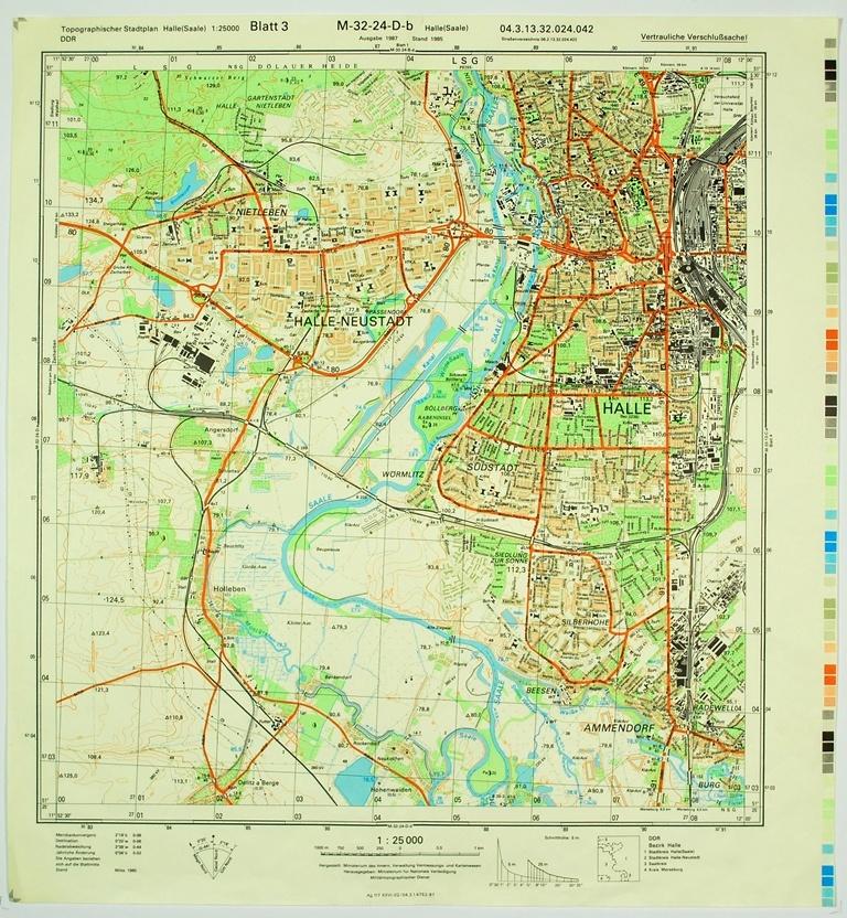 Halle Saale Karte.Halle Saale Topographische Karte 1 25000 Ddr