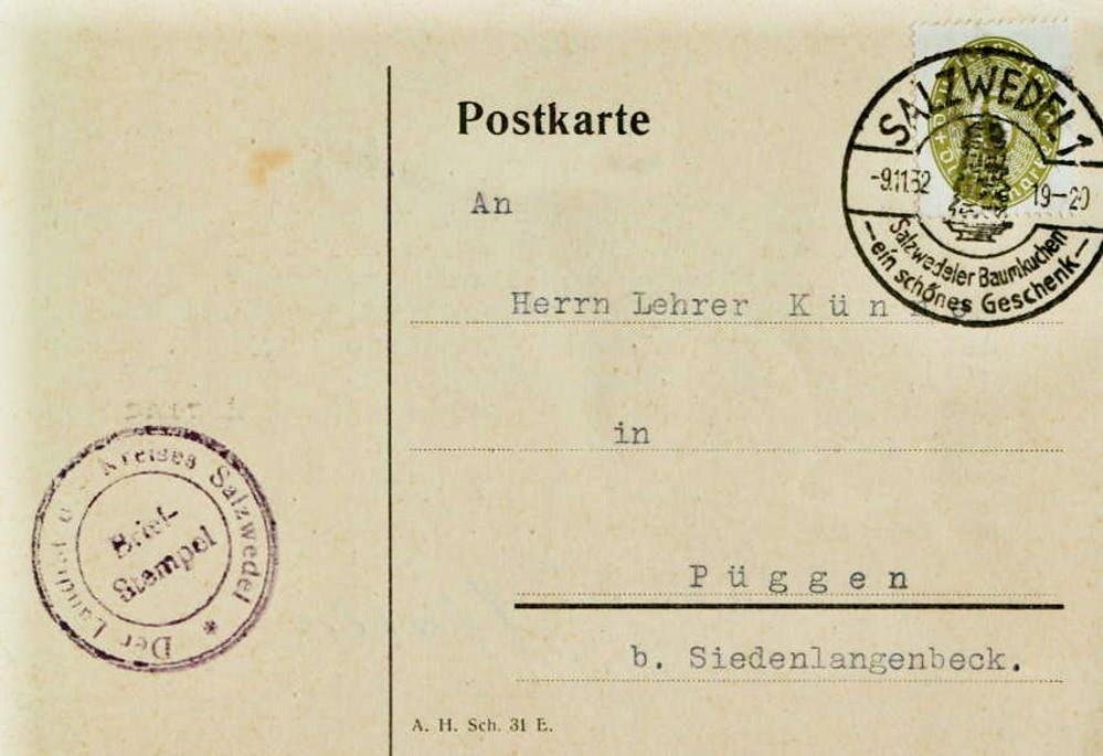 Postkarte Dr. Thiemer an Lehrer Künne, Püggen